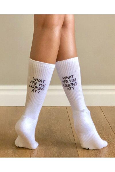 Looking At Yazılı Beyaz Çorap