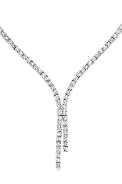 Diamond Montür, 8 Karat Swarovski Zirkon Taşlı, Çift Bitiş Su Yolu Gerdanlık