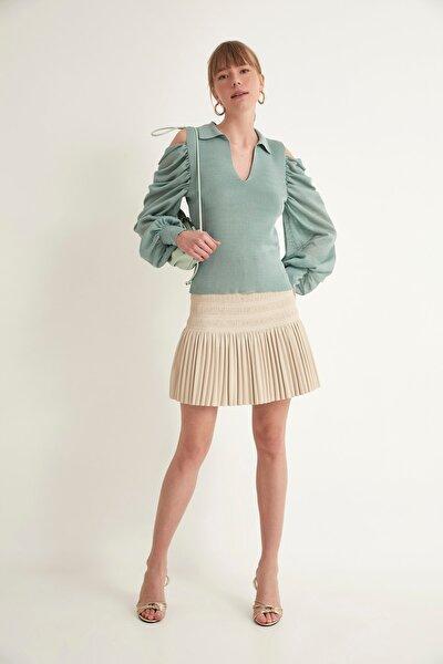 Kadın Mint Transparan Polo V Yaka Omuzları Açık Triko Bluz