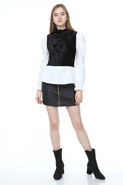 Kadın Siyah Kadife Siyah Gömlek Bluz