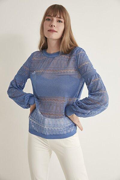 Kadın Koyu Mavi Ajurlu Transparan Balon Kol Triko Bluz