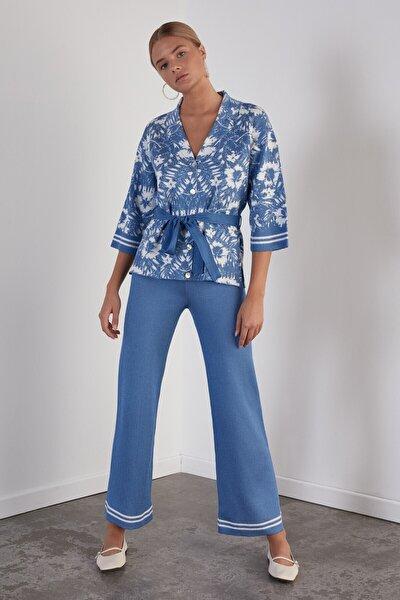 Kadın Mavi Beli Lastikli Triko Pantolon