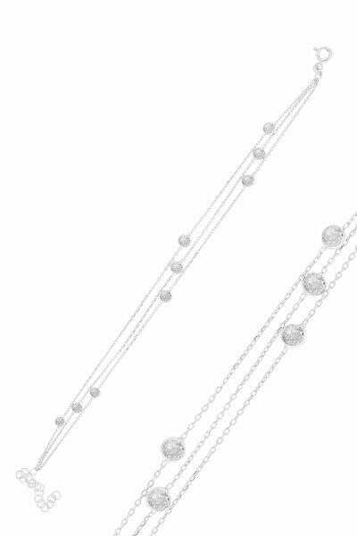 Gümüş Rodyumlu Zirkon Sıra Taşlı Bileklik