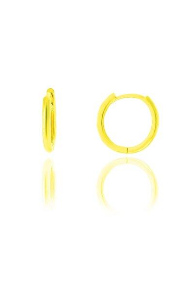 Gümüş Altın Yaldızlı 14 Mm Halka Küpe