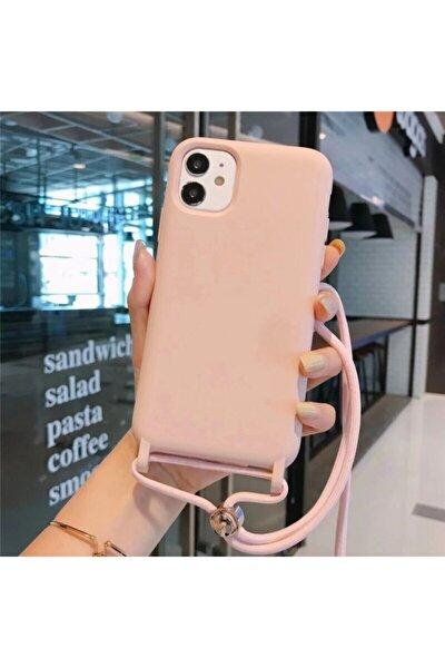Iphone 11 Içi Kadife Boyun Askılı Ipli Lansman Silikon Kılıf