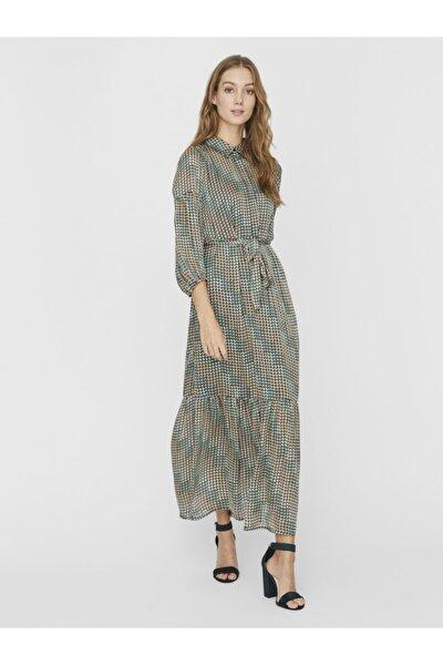 Kadın Yeşil Geometrik Desenli Uzun Gömlek Elbise 10234556 VMBERTA