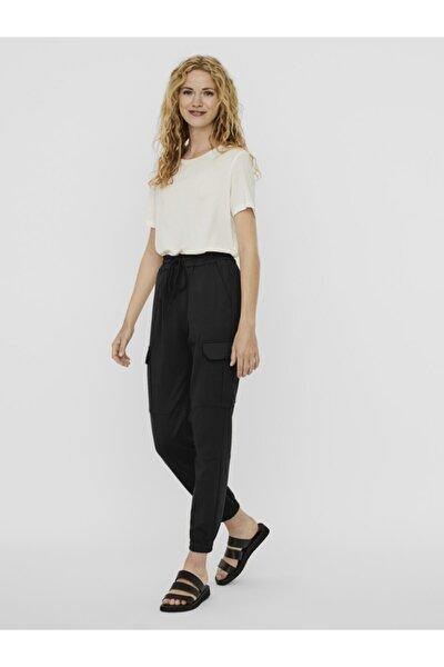 Kadın Siyah Paçası Lastikli Kargo Pantolon 10233502 VMEVA