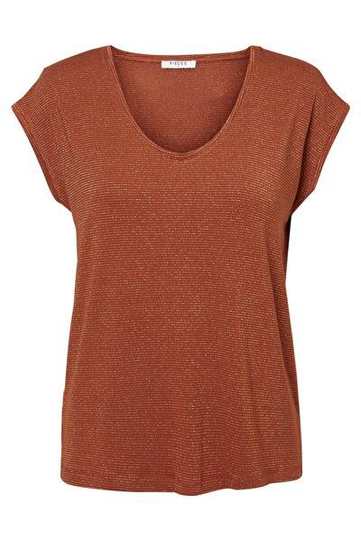 Kadın Tarçın Çizgili T-Shirt 17078572 PCBILLO