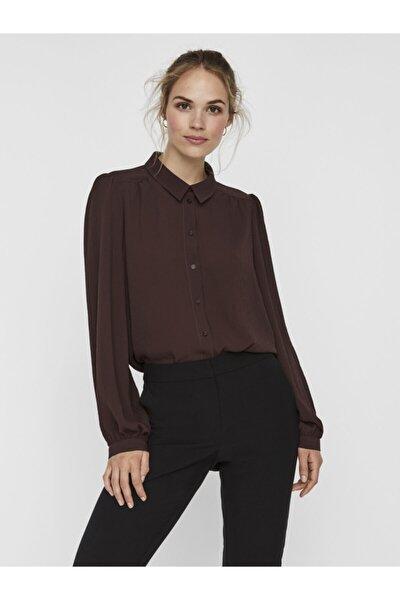 Kadın Kahverengi Omuz Detaylı Gömlek 10238992 VMAYA