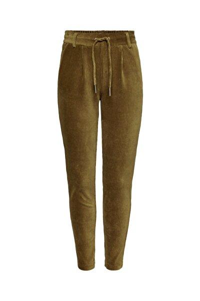 Kadın Kahverengi Beli Bağlamalı Kadife Pantolon 15191641 ONLPOPTRASH-PING