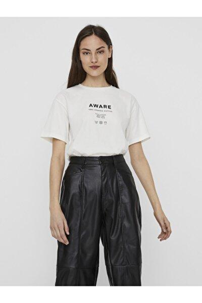 Kadın Beyaz Önü Baskılı Pamuklu Kısa Kollu T-Shirt 10231133 VMLILJE