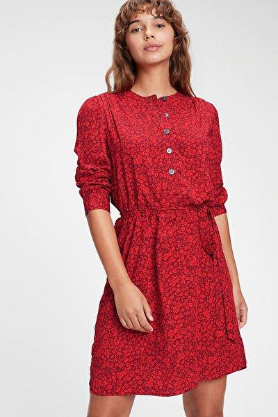 Desenli Önden Düğmeli Elbise 619941