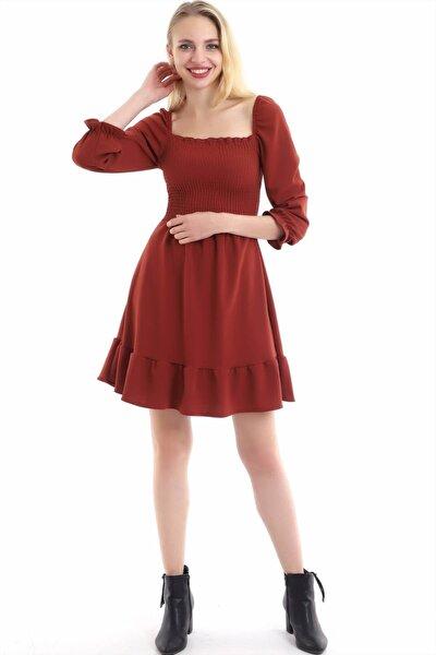 Kadın Kiremit Kare Yaka Gipeli Eteği Volanlı Mini Boy Elbise