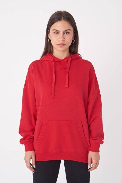 Kadın Kırmızı Kapüşonlu Sweatshirt ADX-0000014040