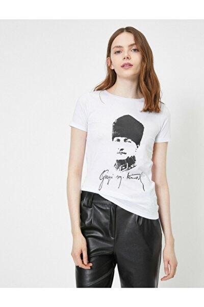 Kadın Ekru Atatürk Baskili T-Shirt 0YAL18570IK