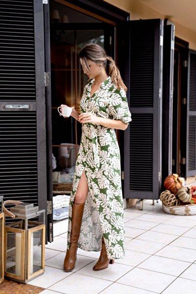 Kadın Yeşil  Desenli Uzun Gömlek Elbise