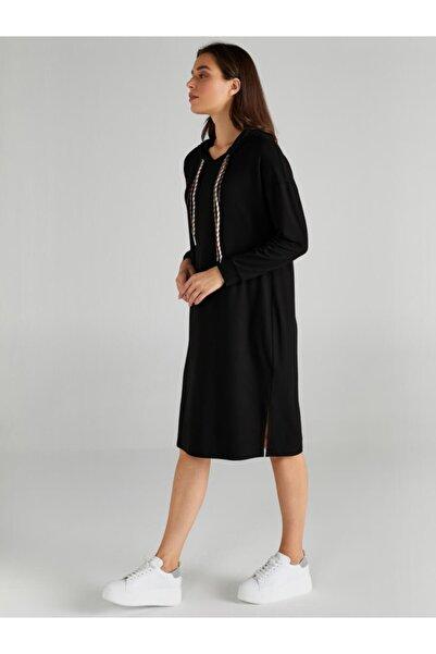 Kadın Siyah Kapüşonlu Örme Elbise 61255