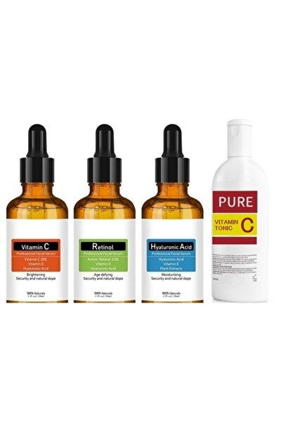 Skin Care Hyaluronic Acid+retinol+vitaminc+vitamin C Yüz Temizleme Toniği 200ml