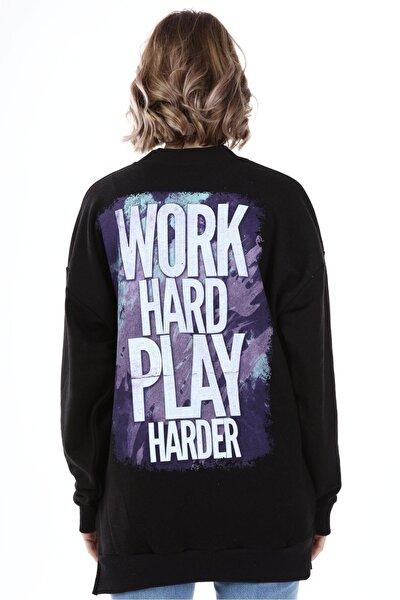 Kadın Siyah Yırtmaçlı Work Hard Baskılı Oversize Sweatshirt