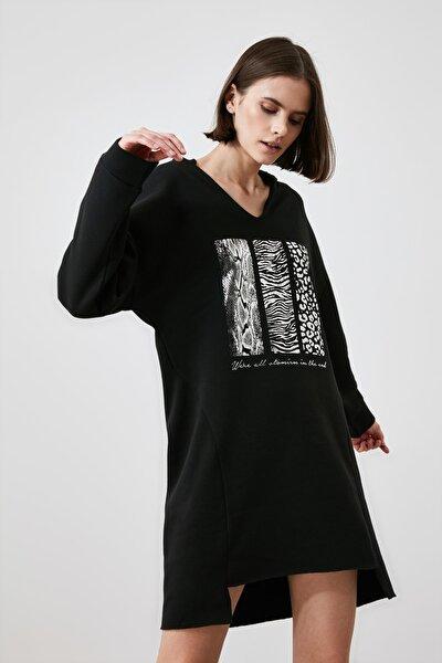 Siyah Baskılı Örme Elbise TWOAW21EL2453