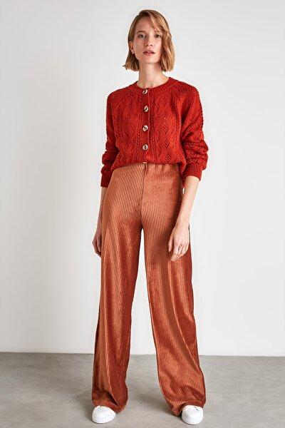 Kahverengi Kadife Bol Paça Örme Pantolon TWOAW21PL0692