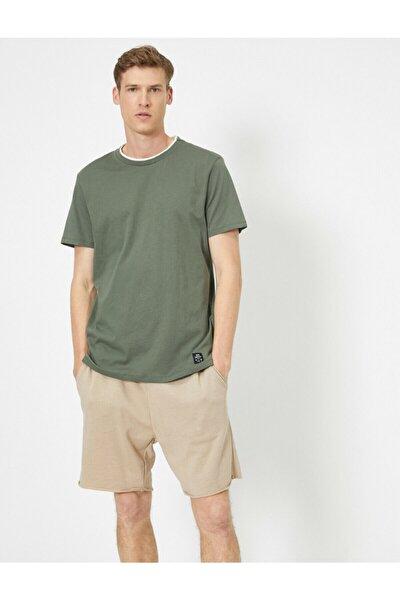 Erkek Yeşil Bisiklet Yaka T-Shirt 0YAM12555HK