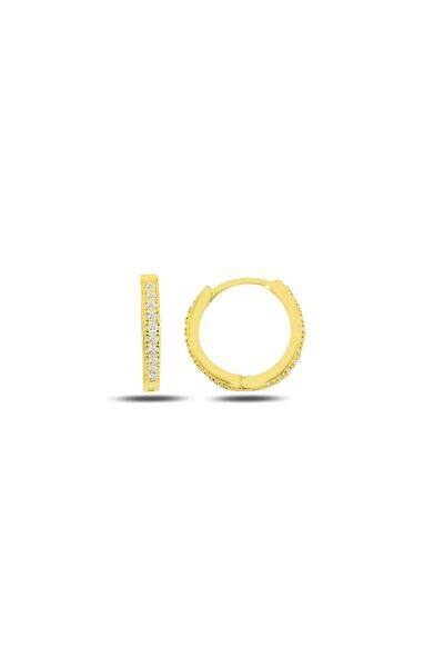 Tek Sıra Zirkon Taşlı 14k Altın Kaplama Gümüş Küpe 14 Milim