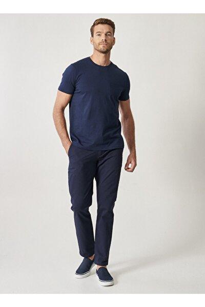 Erkek Koyu Lacivert Kanvas Slim Fit Chino Pantolon