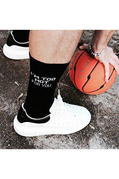 Hot For You Yazılı Uzun Siyah Spor Çorabı