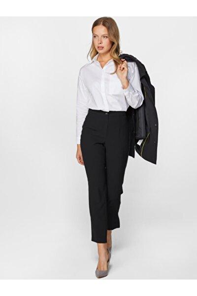 Kadın Siyah Fit Zigzag Dikiş Detaylı Krep Pantolon 60527