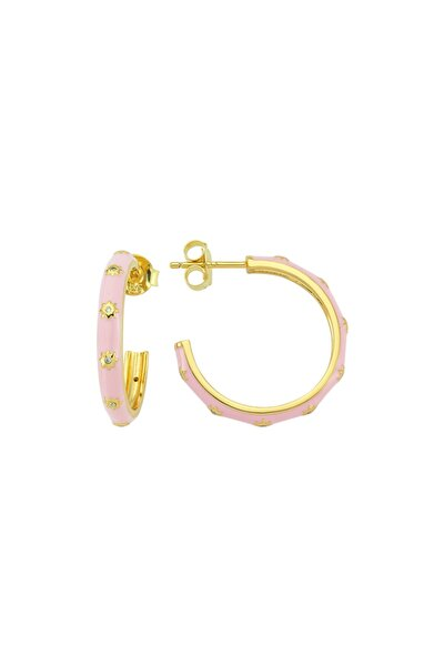 White Hoop Earr. 925 - Pink