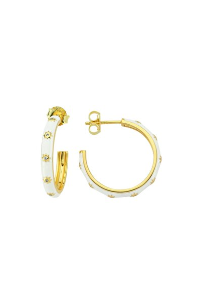 White Hoop Earr. 925 - White