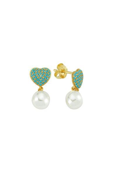 Turquoise Heart Earr. 925