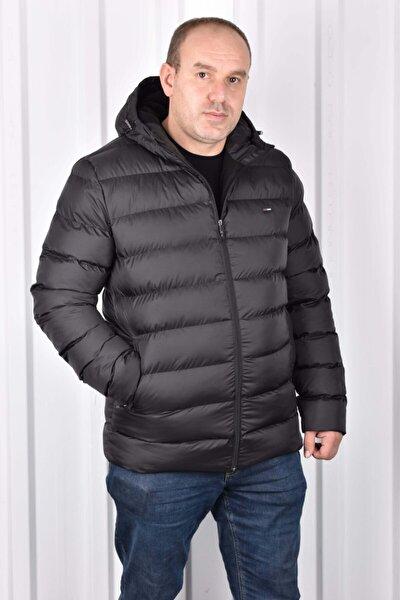 Erkek Siyah Iç Polarlı Kapüşonlu Battal Mont