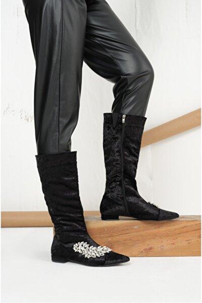 Kadın Siyah Kadife Çizme