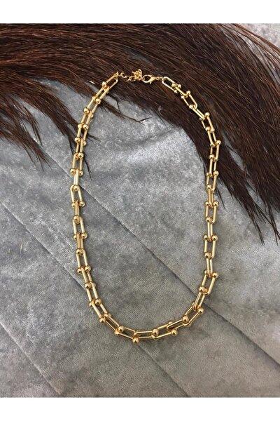 Kadın Gold Kaplama Tiffany Kalın Zincir Kolye
