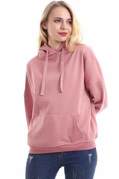 Kadın Gül Kurusu Içi Pamuklu Oversıze Sweatshirt