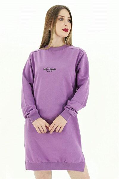 Kadın Lila Ön Baskı Bluz