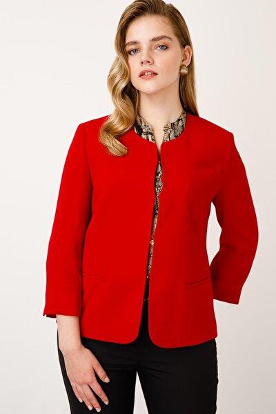 Kadın Kırmızı O Yaka Ceket