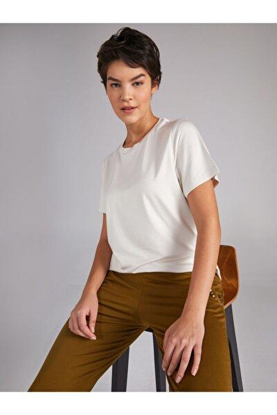 Kadın Bej Yuvarlak Yaka Kısa Kol T-shirt