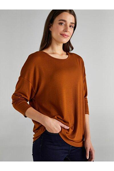 Kadın Kahverengi Yuvarlak Yaka Uzun Kol T-shirt