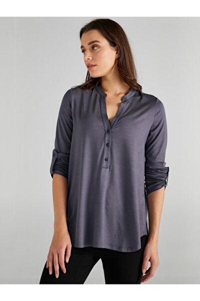 Kadın Gri Kaçık Yaka Uzun Kollu T-shirt