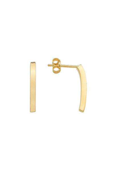 14 Ayar 1.00 gr Altın Dikdörtgen Model Sade Şık Kadın Küpe