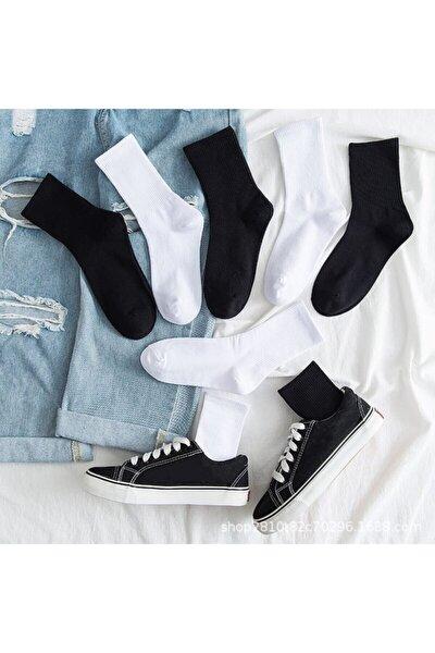 Unisex 5' Li Paket Siyah+beyaz Çizgisiz Pamuklu Kolej Tenis Çorap