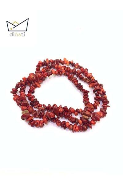 Doğal Kırmızı Mercan Taşı Kırık Dizi Doğaltaş Kolye 80 Cm
