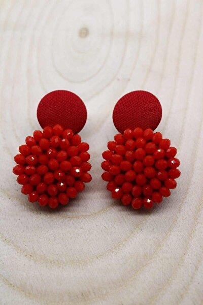 Kristal Tasarım Düğme Küpe Kırmızı