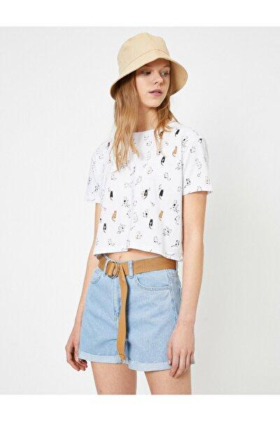Kadın Beyaz Baskili T-shirt