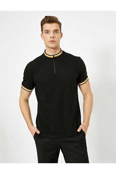 Erkek Siyah Fermuar Detayli T-shirt