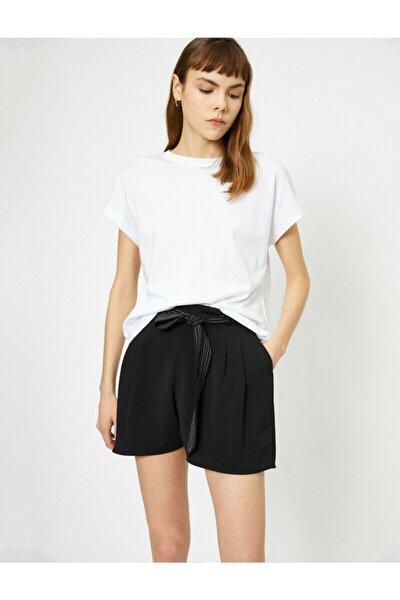Kadın Ekru Düz T-Shirt 0YAL18624OK