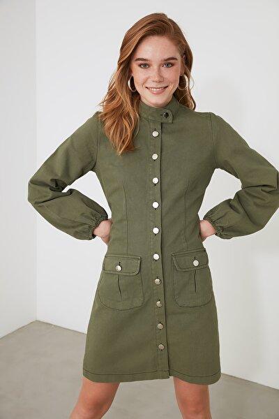Haki Cep Detaylı Ve Düğmeli Elbise TWOAW21EL1930